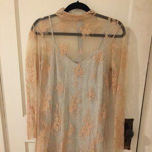 Sheer Lace Tan Dress w Slip